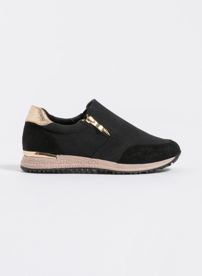 Slip-on sneakers με φερμουάρ - Μαύρο