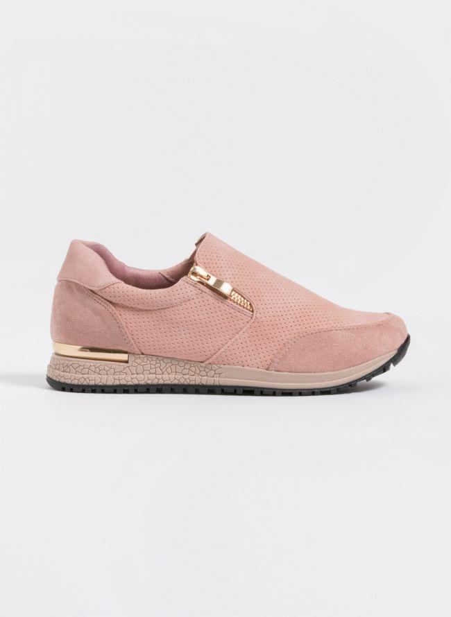 Slip-on sneakers με φερμουάρ - Ροζ