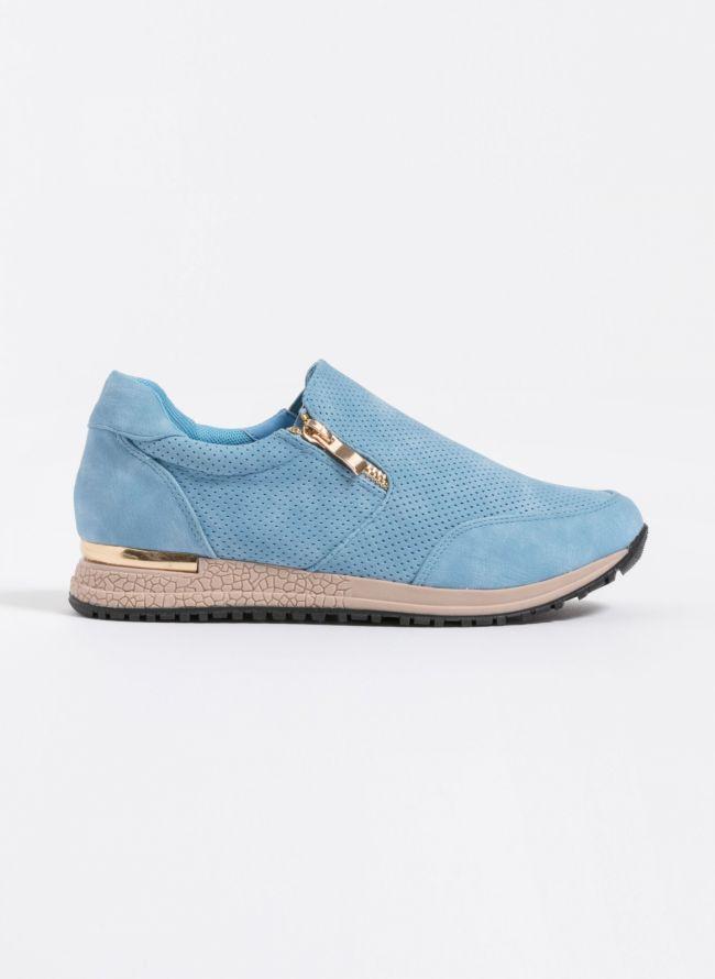 Slip-on sneakers με φερμουάρ - Γαλάζιο