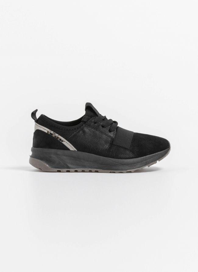 Slip on sneakers με glitter suede - Μαύρο