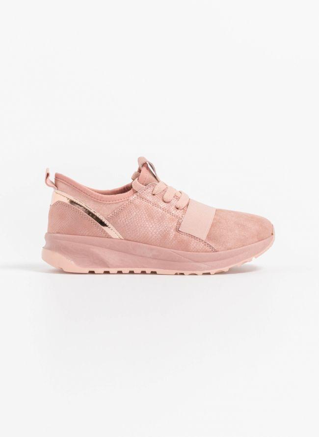 Slip on sneakers με glitter suede - Ροζ