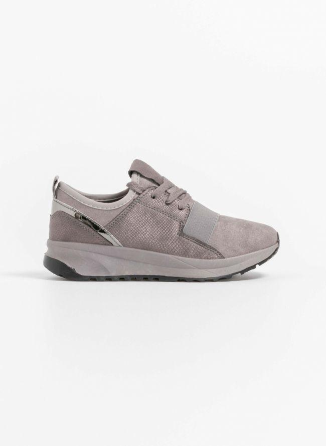 Slip on sneakers με glitter suede - Γκρι