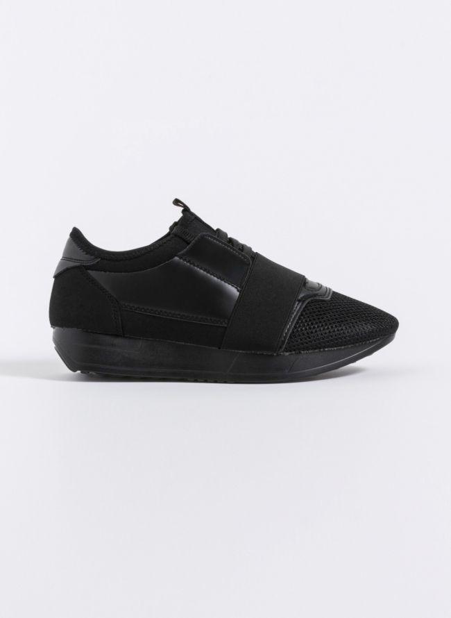 Slip on sneakers με λάστιχο και κορδόνια - Μαύρο