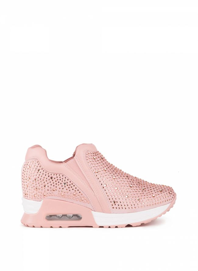 Slip-on sneakers με στρας - Ροζ