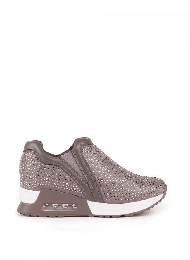 Slip-on sneakers με στρας - Γκρι