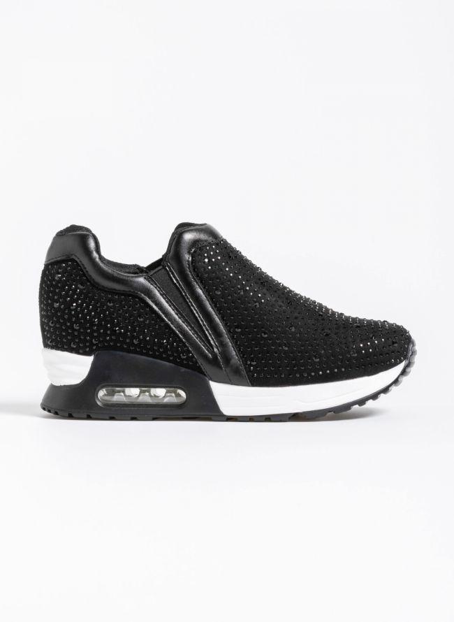 Slip on sneakers με strass  - Μαύρο