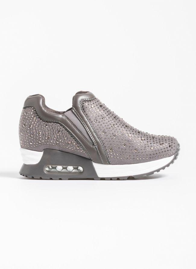 Slip on sneakers με strass  - Γκρι