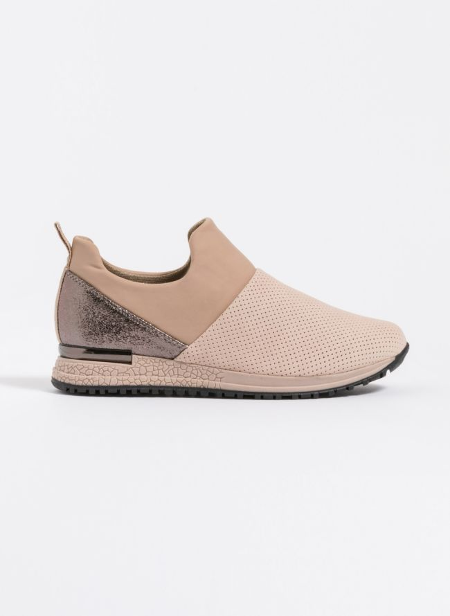 Slip-on sneakers με συνδυασμό υλικών - Nude