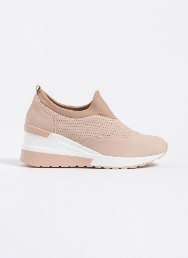 Slip on sneakers με τακούνι - Nude