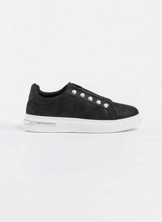 Slip-on sneakers με πέρλες - Μαύρο