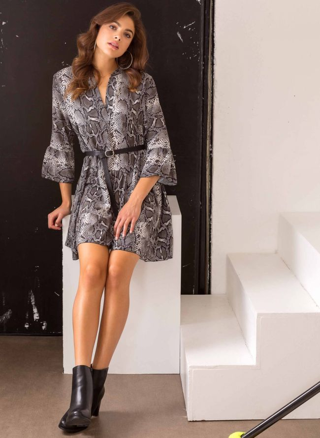 Snakeprint φόρεμα με βολάν - Χακί