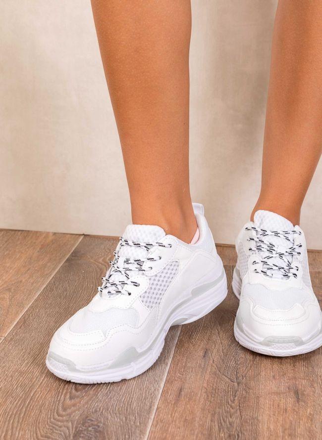 Chunky sneakers με ανάγλυφα σχέδια στη σόλα - Λευκό