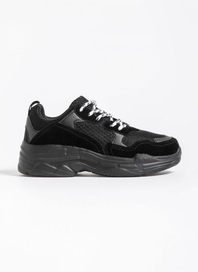 Chunky sneakers με ανάγλυφα σχέδια στη σόλα - Μαύρο