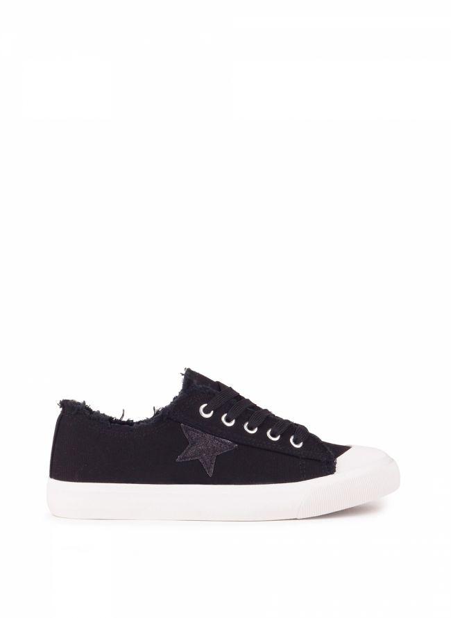 Sneakers με glitter αστέρι - Μαύρο