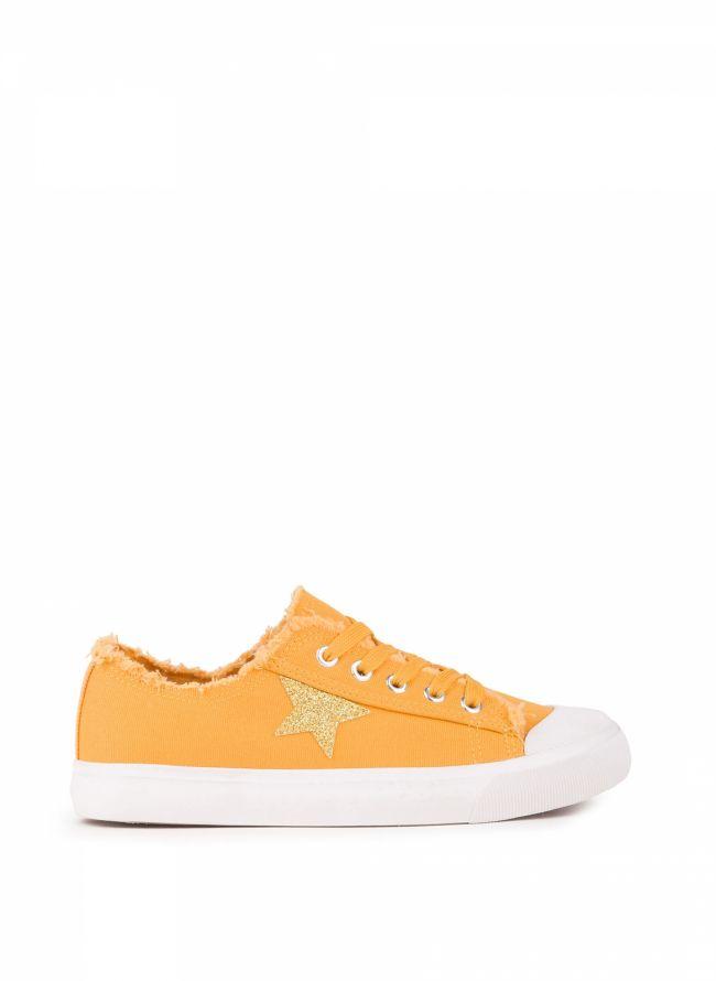 Sneakers με glitter αστέρι - Μουσταρδί
