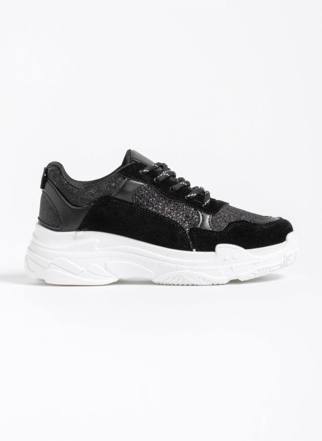 Chunky sneakers με glitter ύφασμα - Μαύρο