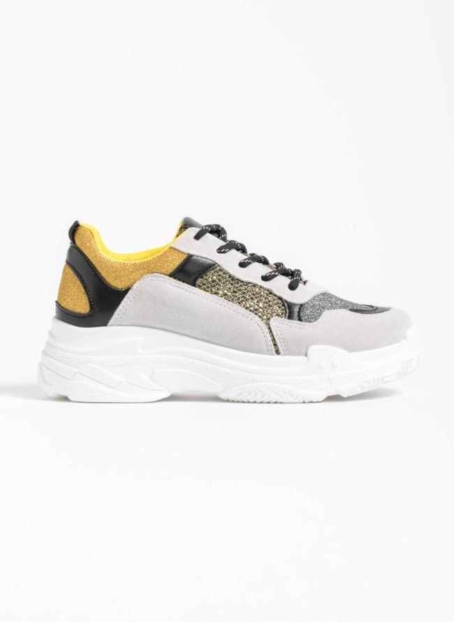 Chunky sneakers με glitter ύφασμα - Multi