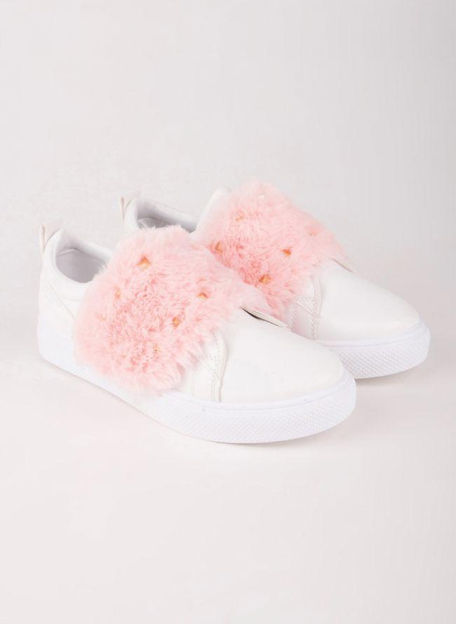 Sneakers με γουνάκι - Ροζ