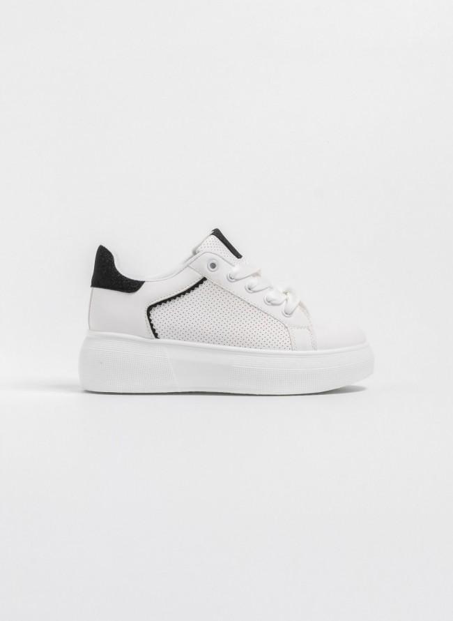 690468883ec Sneakers με μαλακή διπλή σόλα και glitter λεπτομέρεια - Λευκό/Μαύρο