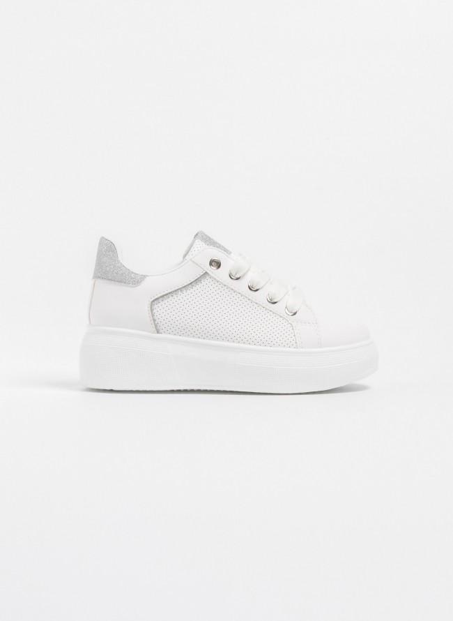 Sneakers με μαλακή διπλή σόλα και glitter λεπτομέρεια - Λευκό Χρυσό ... d99fb50408f