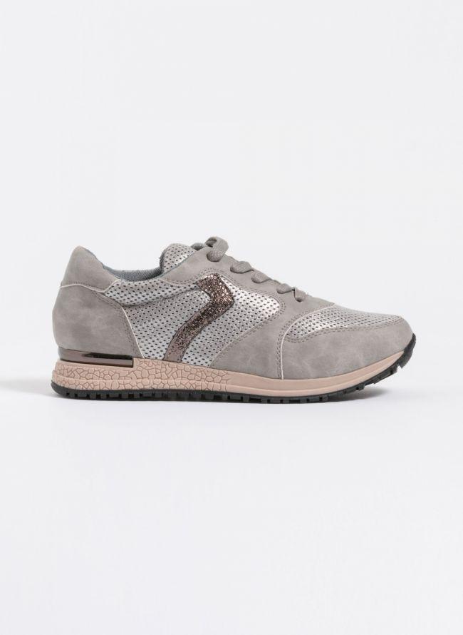 Sneakers με μεταλλική λεπτομέρεια στη σόλα - Γκρι