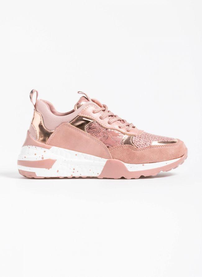 Chunky sneakers σε συνδυασμό υλικών - Ροζ