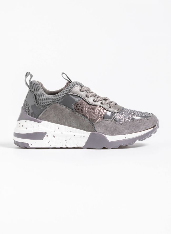Chunky sneakers σε συνδυασμό υλικών - Γκρι