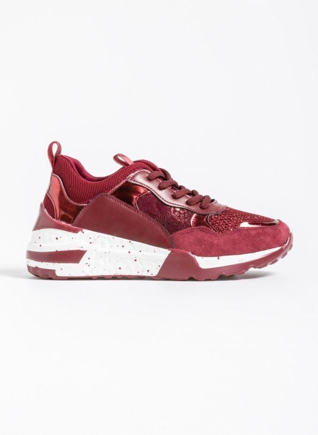 Chunky sneakers σε συνδυασμό υλικών - Μπορντό