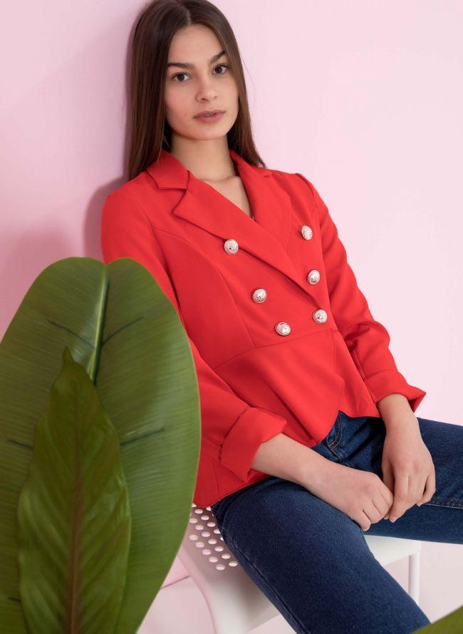 Ασύμμετρο σταυρωτό σακάκι με βολάν - Κόκκινο