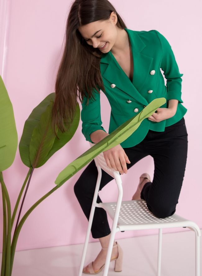 Ασύμμετρο σταυρωτό σακάκι με βολάν - Πράσινο