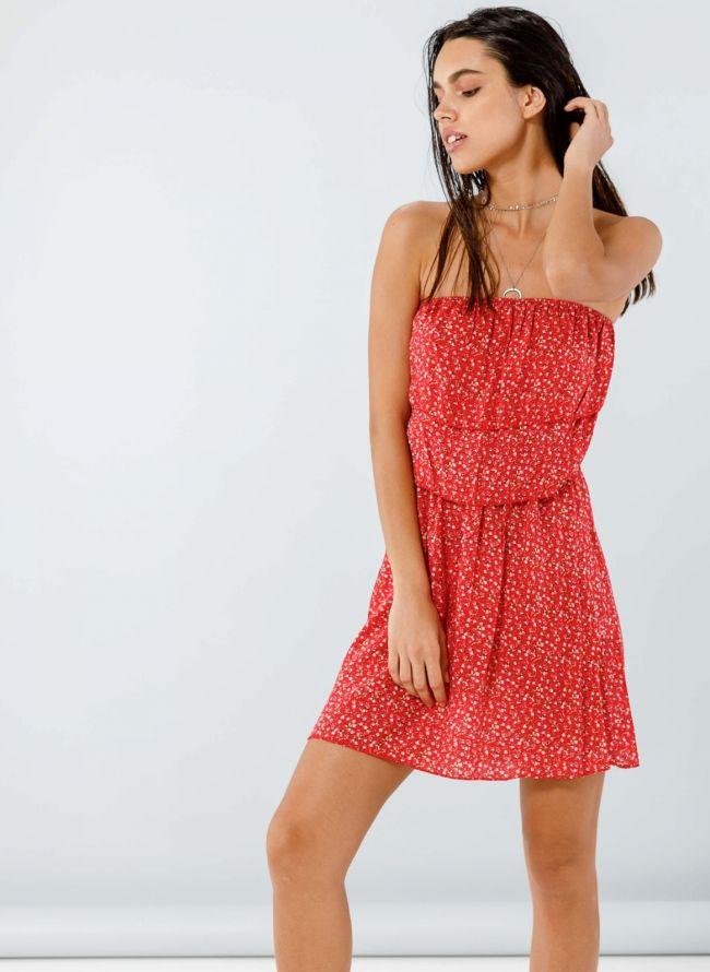 Strapless floral φόρεμα  - Κόκκινο