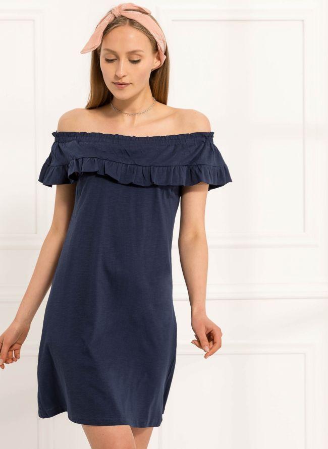 Strapless φόρεμα με βολάν - Μπλε σκούρο