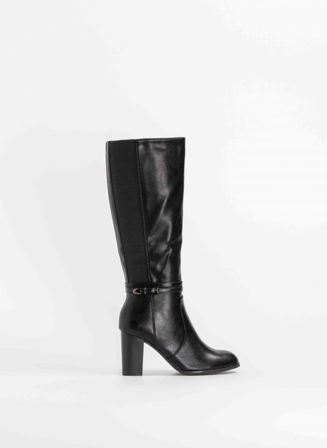 Στρογγυλές μπότες με ψηλό τακούνι και λάστιχο - Μαύρο