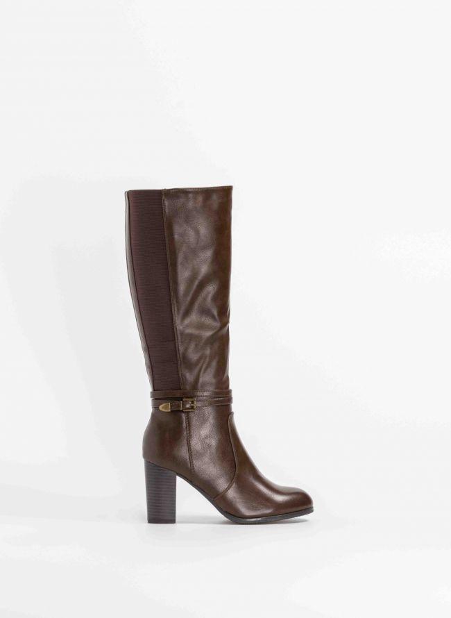 Στρογγυλές μπότες με ψηλό τακούνι και λάστιχο - Καφέ