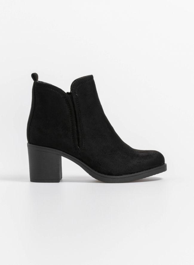 Suede ankle boots με λάστιχο στην εξωτερική πλευρά - Μαύρο