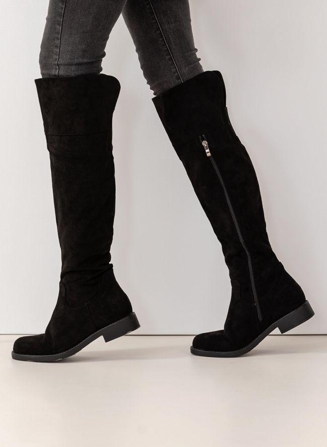 d1a9ead168f Suede casual μπότες πάνω από το γόνατο - Μαύρο - TheFashionProject