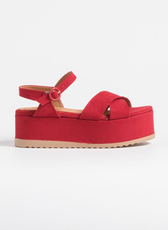 Suede flatforms με ντυμένη σόλα - Κόκκινο