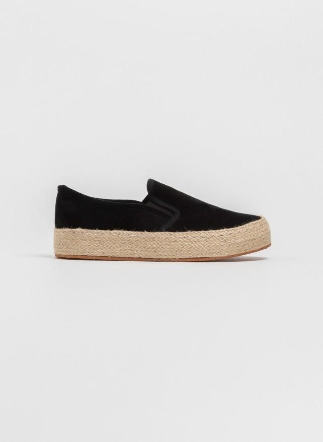 405d7fe8c75 Suede loafers με σχοίνινη σόλα - Μαύρο