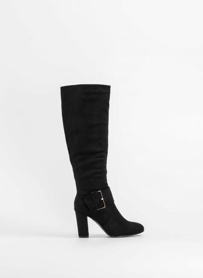 Suede μπότες με φαρδύ ζωνάκι στο κουτεπιέ - Μαύρο