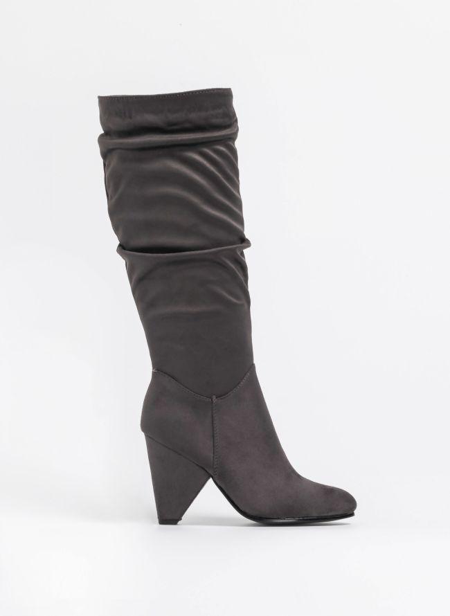 d9b03f7037d Suede μπότες με ιδιαίτερο τακούνι - Ανθρακί