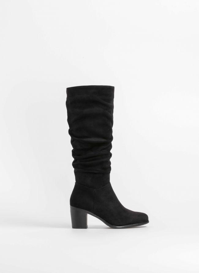 Suede μπότες με σούρα και μέτριο τακούνι - Μαύρο
