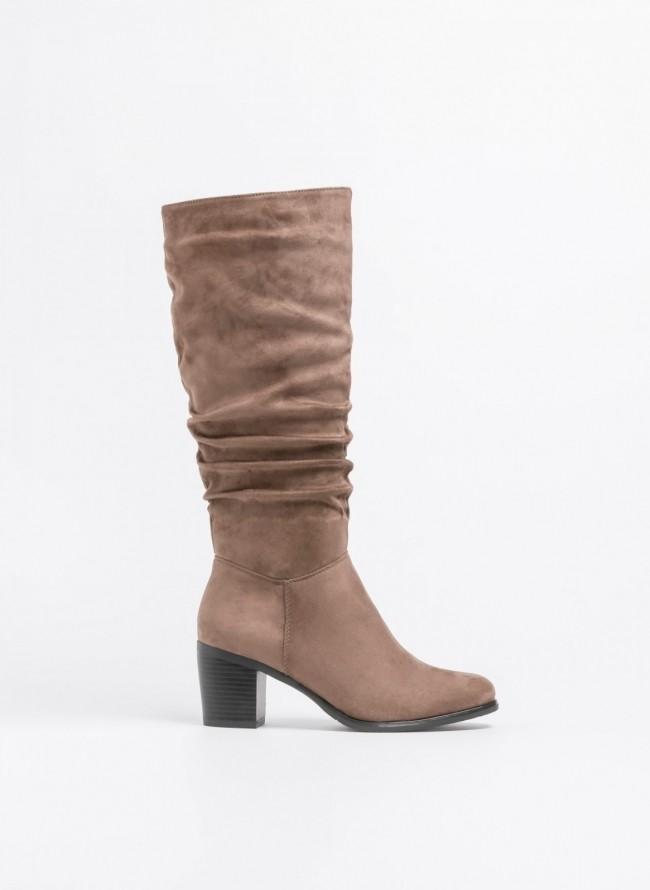 f2fb926733 Suede μπότες με σούρα και μέτριο τακούνι - Πούρο