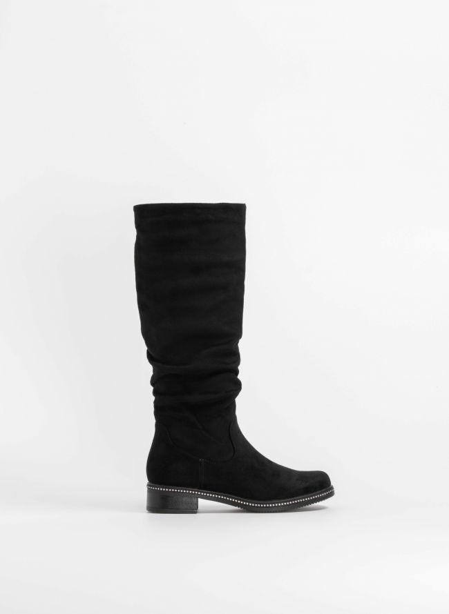 Suede μπότες με strass στη σόλα - Μαύρο