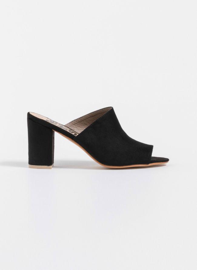 Refresh suede mules με τετράγωνο τακούνι - Μαύρο