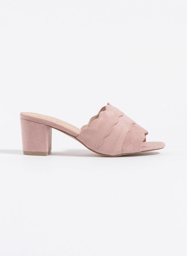 Suede mules με φαρδιά φάσα - Ροζ
