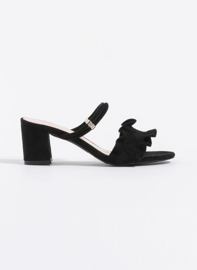Suede mules με ruffle - Μαύρο