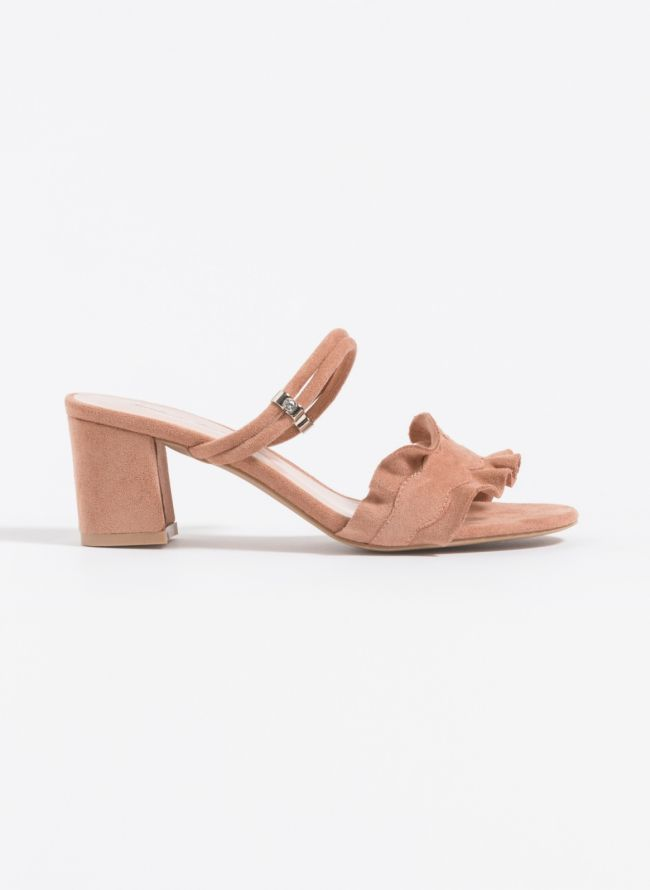 Suede mules με ruffle - Κάμελ