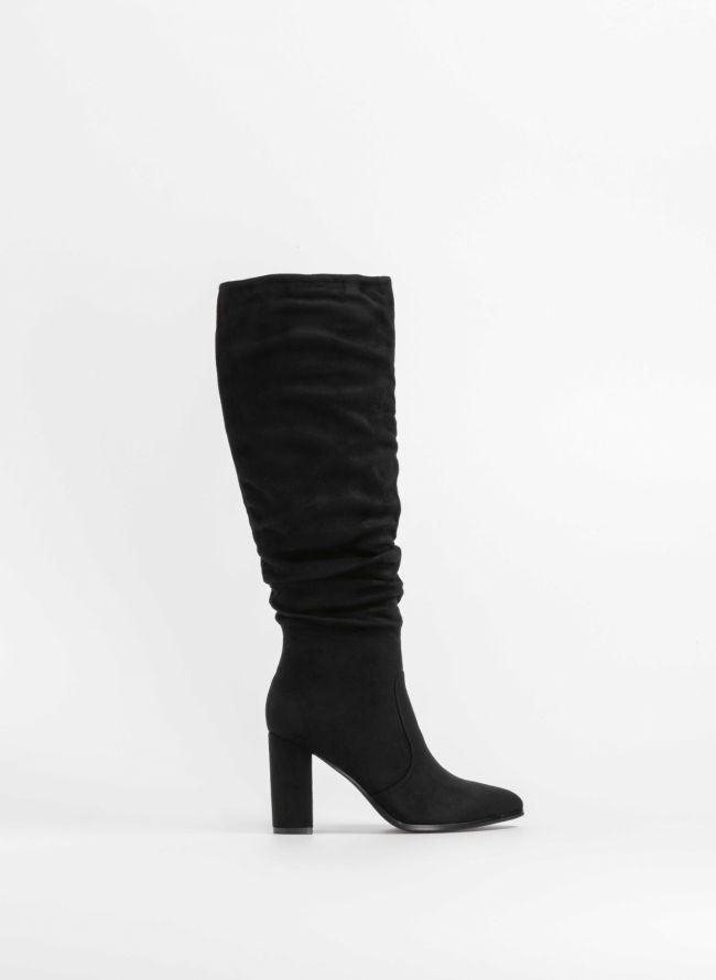 Suede μυτερές μπότες με τετράγωνο τακούνι - Μαύρο