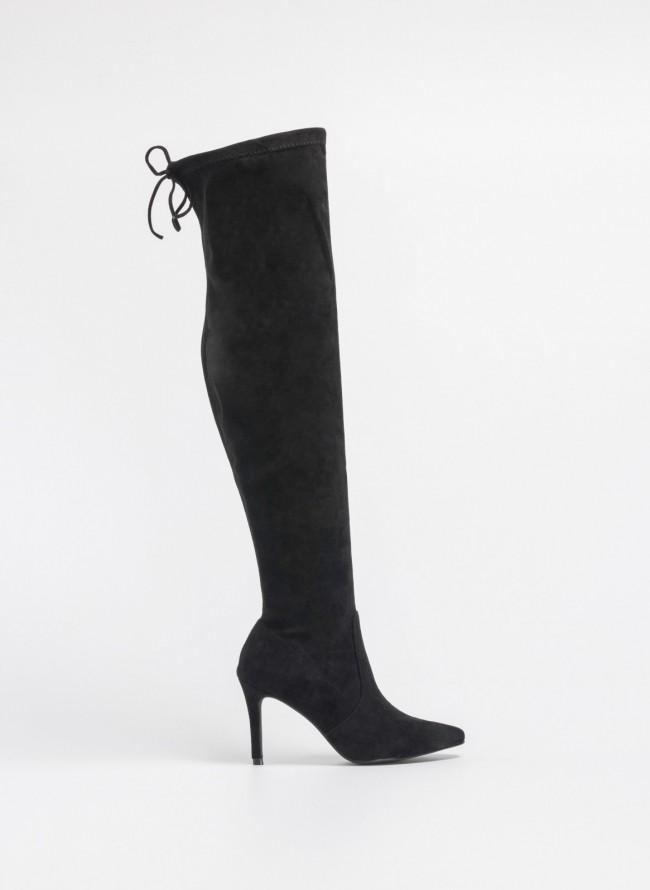 88e104ca6b4 Suede μυτερές μπότες πάνω από το γόνατο - Μαύρο - TheFashionProject