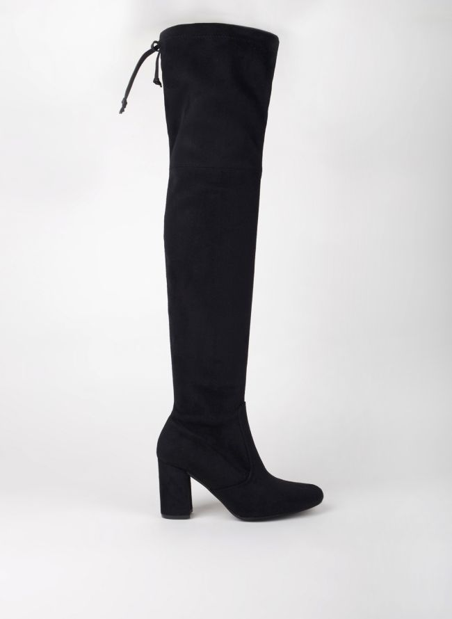 Suede over the knee μπότες - Μαύρο